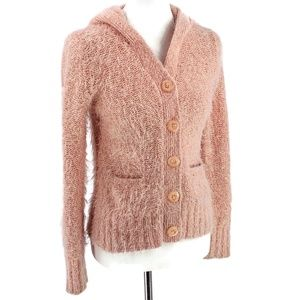 SLEEPING ON SNOW Fuzzy Pink Hooded Cardigan Small